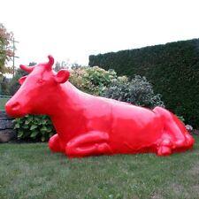 KUH SISSI lebensgroß liegend rot Deko Garten Tier Figur BAUERNHOF Werbung