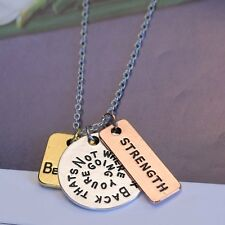 """Believe Strength"" Pendant Inspirational Necklace Jewelry Three Piece Chain Gift"