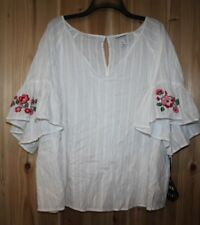 NWT AVA VIV women 4X Blue Top Blouse White Embroidered Bell sleeve