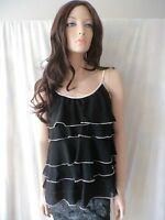 FORCAST Black Frilled Sheer Top Sz M BUY Any 5 Items = Free Post
