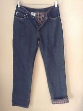 Carhartt Womens 4 x 34 Plaid Flannel Lined Relaxed Fit Winter Cold Weather Jeans