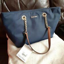 Calvin Klein Navy Blue Tote Bag Handbag - Gold Chain, Brown Handles - NWT Macy's