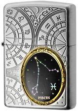 New Zippo Lighter 12 Constellation Pisces Silver Metal Oil Lighter