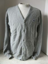 Old Vintage Izod Lacoste Gray Cardigan Sweater Size Large Made in Usa Alligator