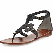 5acd4174f Tory Burch Phoebe T-strap Black Leather Logo Flat Thong Sandals Flip Flop  6.5