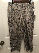 Liz Claiborne Cropped NWT Petite Size 12p lizwear Jeans Blue Beige Flowers
