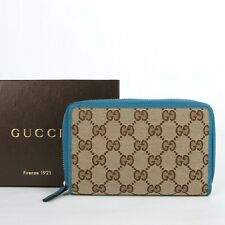 Gucci Women's Beige GG Canvas Zip Around Wallet w/Teal Leather Trim 420113 8616