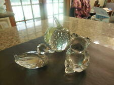 3 Stunning Crystal Paperweights Apple, Duck & Teddy Bear Mint Id:32894