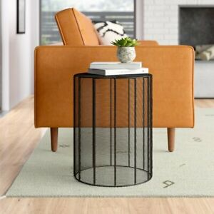 Antique Handmade Stool Metal Wire Handwoven Round Side Table Black Outdoor