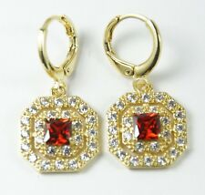Women's 18 carat Gold Plated Red Cubic Zircon Huggie Hoop Earrings
