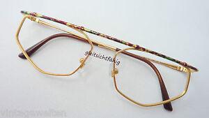 Popeyes ausgefallene Balkenbrille Metallgestell gold Brillenfassung Grösse M
