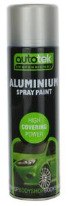 Autotek 500ml Satin Aluminium Aerosol Spray Paint - High Quality Finish