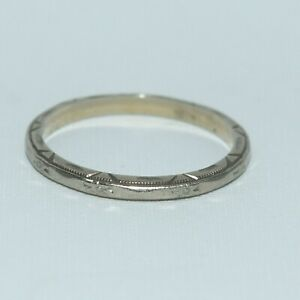 14k White Gold Floral Etched Wedding Band Ring ~ sz 8 ~ 2.07 gm ~ Scrap or Wear