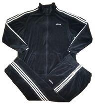 Vtg 2000's Black/White Adidas Originals Velour 2 Piece Tracksuit - Size XL
