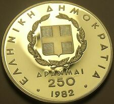 Silver Proof Greece 1982 250 Drachmai~European Games~Shot Put~Free Shipping
