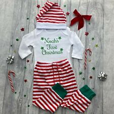PERSONALISED FIRST CHRISTMAS OUTFIT Newborn Baby Boys Romper Pants Hat Set Stars