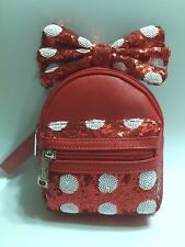 NWT! Loungefly MINNIE MOUSE BOW Backpack Wristlet RED & WHITE SEQUIN POLKA DOT