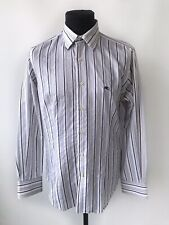 ETRO Mens Buttons Down Dress Shirt- Blue White Striped Cotton Slim Fit- IT 40 M
