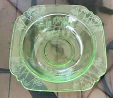 1930s Federal Glass Company Green Depression Glass Parrot Sylvan Soup Bowl