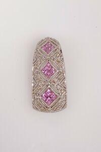 Designer $2000 1.50ct Natural Pink Sapphire Diamond 14k White Gold Pendant 4g