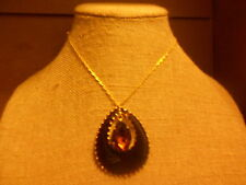 Necklace from Avon (new) BIG BROWN DOUBLE TEARDROP - SHORT