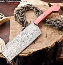 Hand Made Damascus Steel Blade Chef Kitchen Full Tang Chopper Knife   Hard Wood