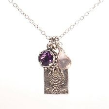 Trio Charm Silver Necklace Pink Rose Quartz Bezel Set Amethyst Fish Bone Pendant