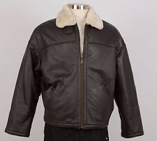 WILSONS LEATHER Men's Winter Jacket Size M Medium Brown Faux Fur Liner