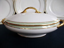 CHARLES MARTIN LIMOGES-GREEN GREEK KEY (c1891+) COVERED SERVING BOWL-EXCELLENT!!