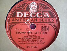 78 Tours LOUIS ARMSTRONG WITH ERSKINE TATE  -STATIC STRUT/STOMP OFF,LET'S GO