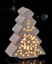 LED Weihnachtsbaum Tannenbaum Windlicht Laterne Baum aus Keramik Weiß