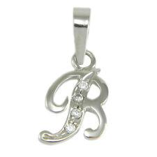 Iniziale lettera B ciondolo pendente in oro bianco 18 carati e zirconi bianchi