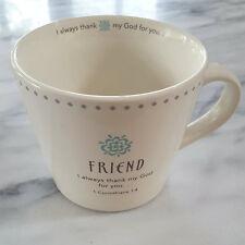NEW Coffee Mug FRIEND THANK MY GOD FOR YOU Tea Cup White Scripture 1 CORINTHIANS