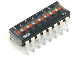 APEM Dip-Switch Slide 8-Positions/Dip-Switch 25mA 24V PCB Tht DIP-16 0 3/32in