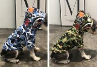 2019 A BATHING APE GREEN & BLUE CAMO SHARK DOG PET HOODIE SWEATER COAT JACKET