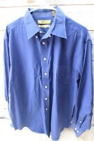 Turnbury Blue Cotton Long Sleeve 35 Large Men's Shirt