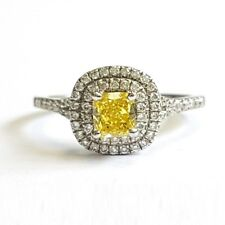 Fancy Vivid Yellow Cushion Diamond Engagement Ring , Platinum