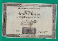 ASSIGNAT  FRENCH  REVOLUTION  10 LIVRES   1793 .G.  - 7173 - 4 - CURRENCY BILL
