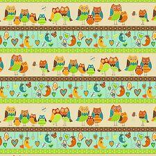 Fabric Owl Wonderland Stripe on Heavy Soft Flannel 1 Yard