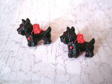 *CUTE SCOTTY DOG* Silver Plated Stud Earrings Rockabilly GIFT Black Red Terrier