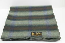 """WOOLRICH Pearce Wool Throw Blanket, 53"""" x 56"""", Green Plaid Cabin Camping Hunting"""