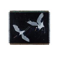 Large Japanese Ukiyoe Black Crane Bird Blanket Cotton Sofa Throw Rug Tapestry