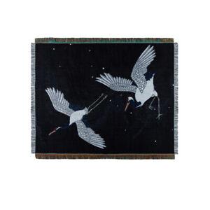Large Japanese Ukiyoe Black Crane Bird Blanket Cotton Throw Decorative Tapestry