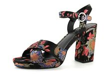 New Look Womens UK 8 EU 41 Black Floral High Block Heel Cross Over Strap Sandals