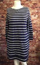 Soft Surroundings Blue Gray Stripes Casual Shift Dress Size PXL