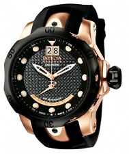 Invicta 1594 Men's Reserve Venom 54mm Rose Gold Black Dial Silicone Watch New