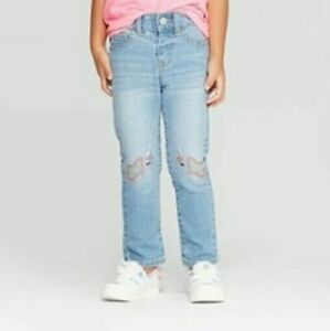 CAT /& JACK Straight Jeans Size 6 Adj Waist Super Stretch GUC