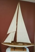 "Vintage Hollow Wood Pond Yacht model sailboat. Brass details. App. 50"" X 68"" X 9"