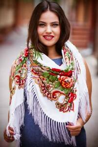 Large new colourful floral Russian folk vintage style scarf shawl long fringe