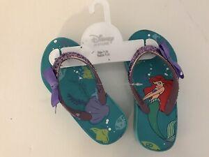 Disney Store Little Mermaid Princess Ariel Flip Flops Sandals Shoes Girl 7/8 A35